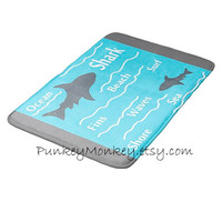 Shark bath mat sharks memory foam beach bathroom mat for floor 3 sizes to choose from made to order