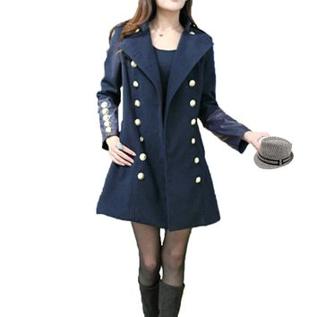 New Fashion Women Trench Coat Stand Collar PU Leather Patchwork Double Breasted Long Outerwear Dark Blue