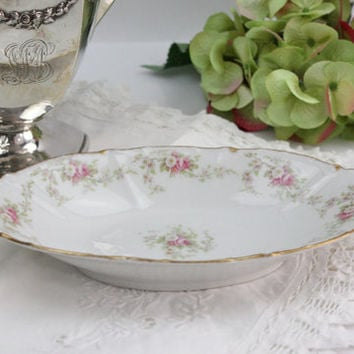 Limoges Relish Dish / Pink and White Roses / Elite Works (Bawo & Dotter) / 2 Available