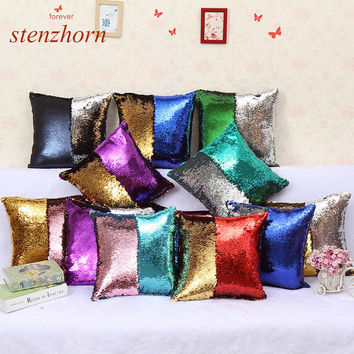 2017 Reversible Sequin Mermaid Sequin Pillow Color Changing Throw Pillow Cover Home Decor Cushion Cover Decorative Pillowcase