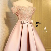 Off the Shoulder Short Prom Dress,A Line Appliques Bow-knot Homecoming Dress OKC85