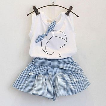 Summer 2pcs Baby Girls Suits Cute Clothes Sets White T Shirt and Plaid Blue Pants for 2-6 Years LH6s