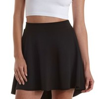 Black Textured High-Low Skater Skirt by Charlotte Russe