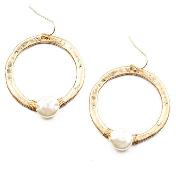 Pearl Pit Hoop Earrings