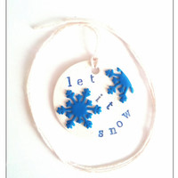 Let It Snow Necklace, Snowflake Necklace, Festive Necklace, Polymer Clay Jewelry, Stocking Stuffer, December Gift, Gift For Aunt, Winter
