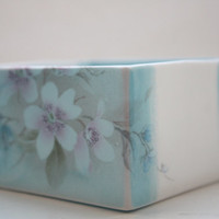 Big white and blue cube made from English fine bone china and vintage illustrations - geometric decor- illustrated ceramics