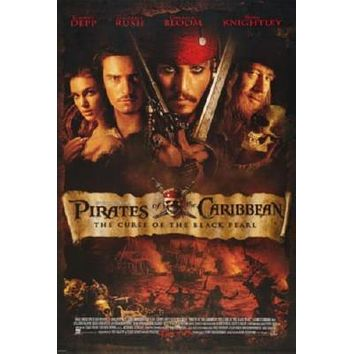 Pirates Of The Caribbean Curse Of The Black Pearl Movie poster Metal Sign Wall Art 8in x 12in