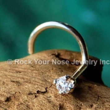 18 Gauge Round Diamond Nose Stud Sterling Silver , Tiny Nose Ring, Gypsy's Nose Stud, Indian Nose Stud