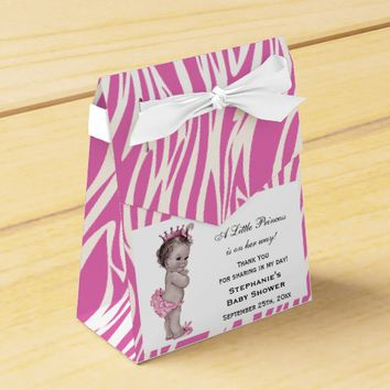Vintage Pink Princess Baby Shower Zebra Pattern Favor Boxes