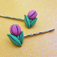 Pink Tulip Bobby Pins - Blossom Flowers - Bobby Pins Hair Clip - Leaves Leaf - Hair Accessories - Hair Accessory