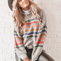 Baby Girl Grey Striped Turtle Neck Sweater