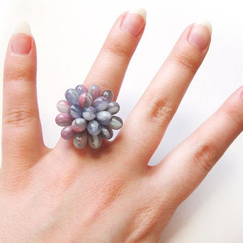 Pastel Berry Ring - Limited Edition Expandable ring, Pink, Purple, Green and White Twirl