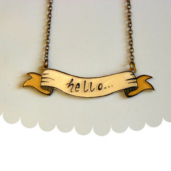 Banner necklace, hello necklace, illustrated jewelry