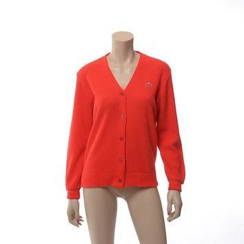 Vintage 70s Izod Lacoste Red Orange Cardigan Sweater 1970s Golf Tennis Preppy Boyfrien