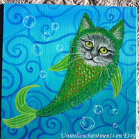 Catfish - Original Acrylic Painting on compressed Wood Board, Ready to Hang, Home Decor, Mermaid, Acrylic Painting, OOAK, Faerie, Fairy Tale