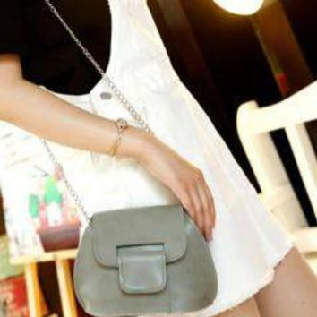 Leather Chain Cross Body Purse_Grey