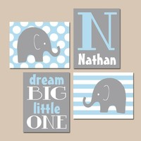 Boy Elephant Nursery Decor, Baby Boy Nursery Wall Art, Baby Elephant Decor, Elephant Dream Big, Elephant Nursery Canvas or Print Set of 4