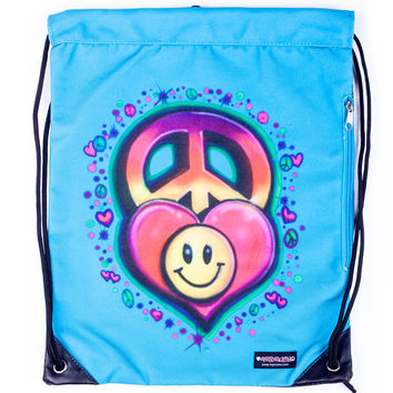 Top Trenz Blue Airbrush Drawstring Sling Bag
