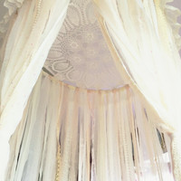 MADE TO ORDER Big Shabby Chic Boho Lace Crochet Doily Dreamcatcher Canopy // Baby Nursery Decor // Home Decor // Bedroom Decor
