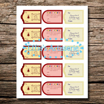 Funny holiday gift tag MEDLEY- Don't get too excited, I made this, lost receipt - Sheet of 15- instant download, printable gift tags
