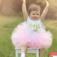 First Birthday Girl Outfit ~ Tutu Outfit ~ Baby Girl One ~ Girl Birthday Cake Smash ~ Baby Girl Onesuit ~ First Birthday Outfit Girl