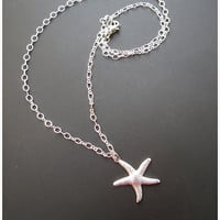 Tiny Starfish Sterling Silver Necklace - Gift for her Under 15