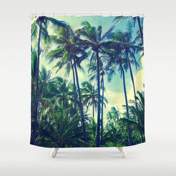 Tropical Shower Curtain with Vintage Palm trees bathroom Blue beach Tropical green Hawaii Photo, 71x74 inch