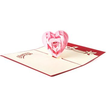 3D Pop Up Birthday Greeting Postcards Gift Cards Custom Laser Cut Heart Blank Romantic Invitation Marriage Love Letters Messages