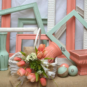 Set of 8 Shabby Cottage -Vintage Frames- Contrasting Colors in Coral,Mint Green and Antique White-Nursery-Wedding -Rustic Cottage Decor.