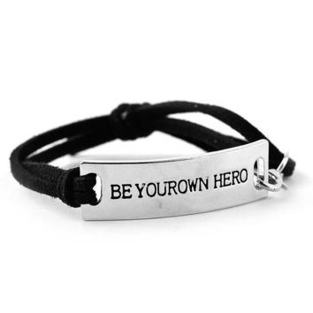 "Inspirational quote leather bracelet ""Be your own hero"""