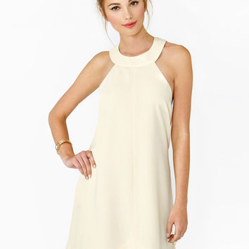 Beige Halter Backless A-Line Mini Dress