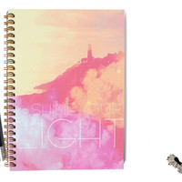 Shine Your light, notebook by Sloshe / sketchbook, journal, spiral, gold, quote, lantern