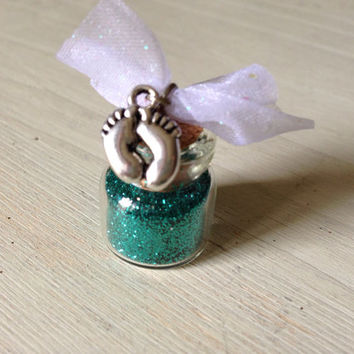 Baby Dust, Teal Glitter, PCOS, Cervical Cancer, TTC, Baby Feet, Sparkle, Glitter
