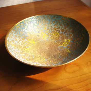 Vintage Ornate Etched Solid Brass Bowl, Indian Colorful Engraved Brass Trinket Dish