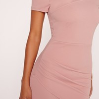 Missguided - Wrap Bardot Bodycon Dress Pink