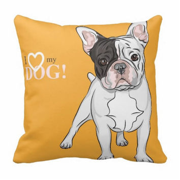 Throw Cushion, English bulldog cushion, French bulldog pillow, Frenchie, bulldog, pillow