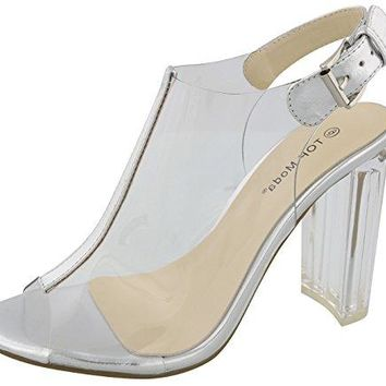 Top Moda Womens Fenton1 Lucite Clear Strappy Block Chunky High Heel Open Peep Toe Sandal