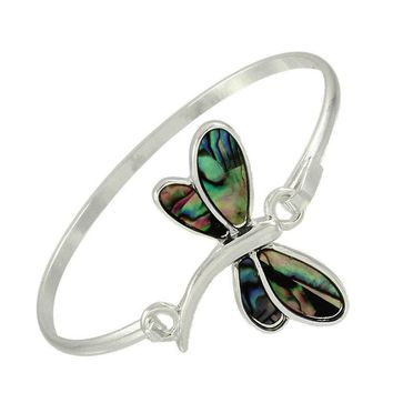 Abalone Silver Dragonfly Silver Bangle