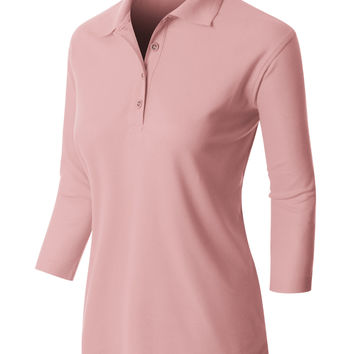 LE3NO PREMIUM Womens Active  3 4 Sleeve Polo Shirt with Stretch