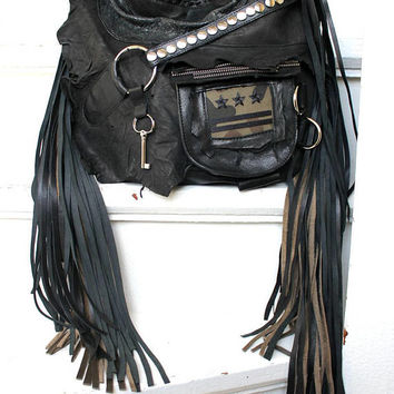 Military black bag studded fringe hobo  purse rocker purse  free people goth rocknroll gothic rockstyle rock star metalhead studs sweetsmoke