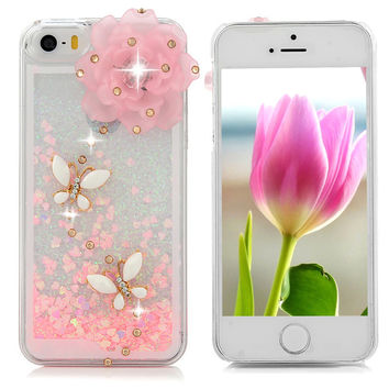 Luxury Glitter Quicksand Case For iPhone 5 5S 6 6S Plus Bling Diamond Hard Back Cover For Samsung Galaxy S4 S5 S6 Edge Note 3 4