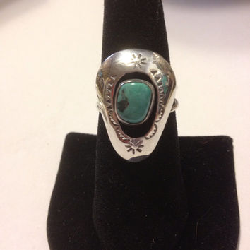 Turquoise Sterling Ring Navajo Silver Size 8 Blue Stone Shadowbox Bear Claw 925 Vintage Native American Southwestern Tribal Jewelry Gift USA