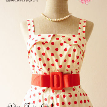 Pin Up Girl Mini Dress Vintage Inspired Dress Red Dot Dress Day Dress Party Wedding Bridesmaid Summer Dress -Size XS-