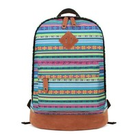 ZLYC Women's Ethnic Aztec Backpack Blue