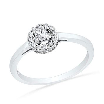 10kt White Gold Women's Round Diamond Solitaire Halo Promise Bridal Ring 1/4 Cttw - FREE Shipping (US/CAN)