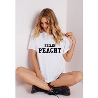 Peachy T Shirt White - Tops - T-Shirts - Missguided