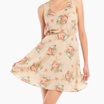 Planted Flower Dress in Tan
