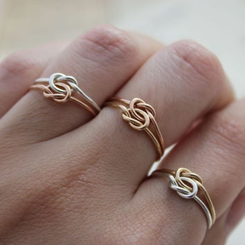 Two-Tone Lovers knot rings
