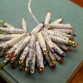 Paper and Glass Beaded Necklace by SticksAndTomes - $30.00 - Handmade Crafts by SticksandTomes