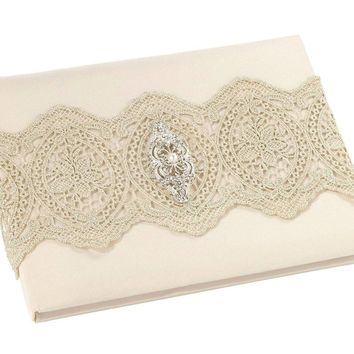 Brand New - Vintage Look gold lace and rhinestone/pearl accent Wedding Guest Book